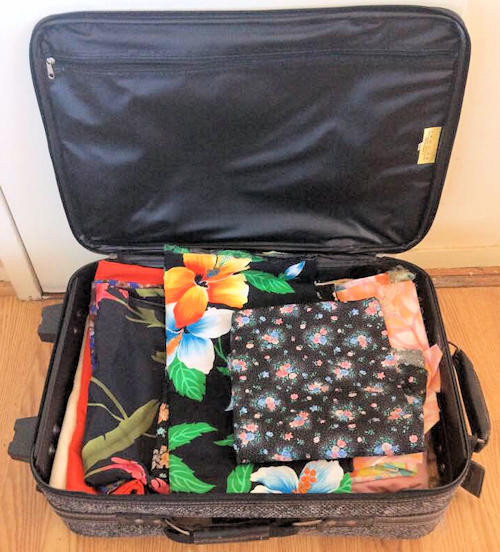 NNS182 Suitcase Full of Various Fabrics
