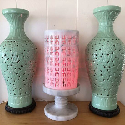 NNS137 Pair of Vases and a Lamp