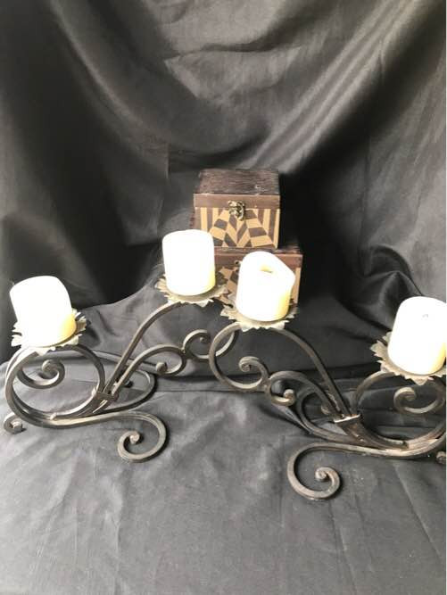 Metal Candelabras and Decorative Boxes