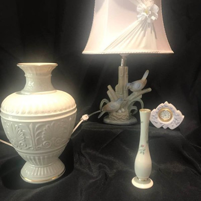 Two Lenox Vases, Lladro Clock, M Requena Lamp