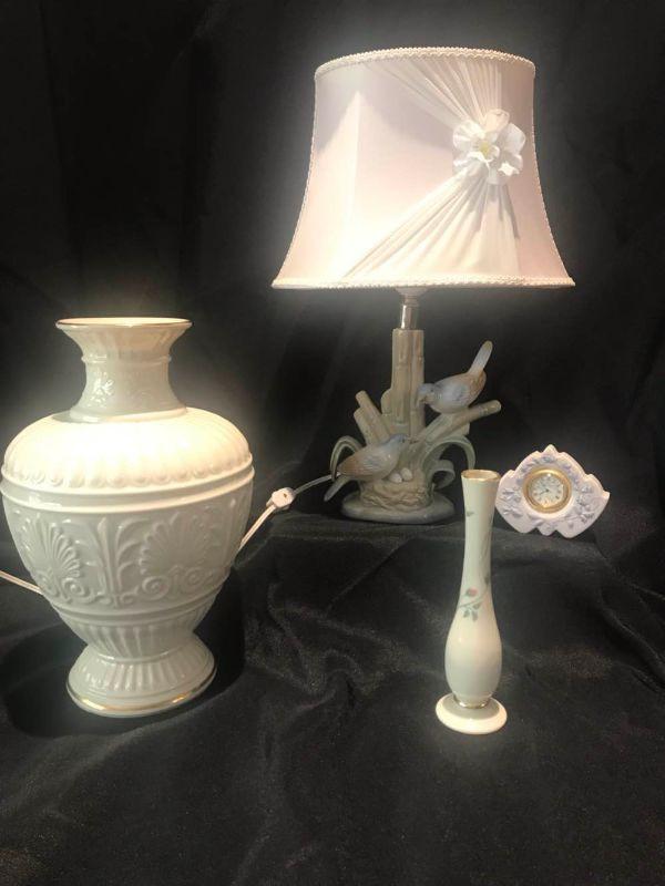 Two Lenox Vases, Lladro Clock, M Requena Lamp