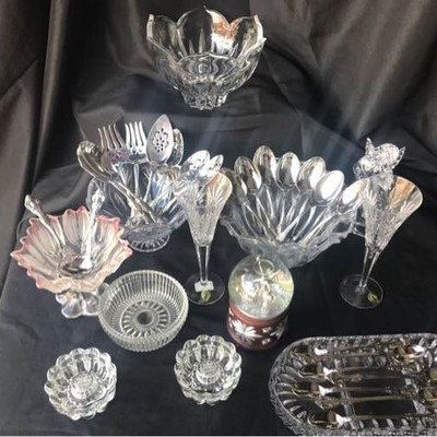 Crystal Collection and Oneida Serving Pieces