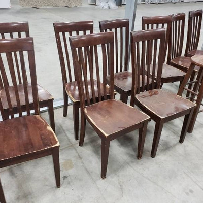 (9) wooden chairs and a stool