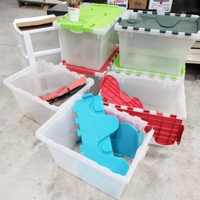 Lot of plastic crates storage containers