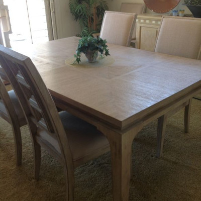 Dining table, 6 chairs and matching buffet