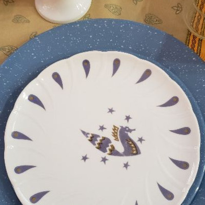 Collectible Air France limoge plates from Concorde