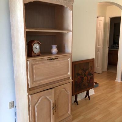 Light Wood Drop-front Secretary w/shelves, storage - $175 (30W  17D  76-1/2H)