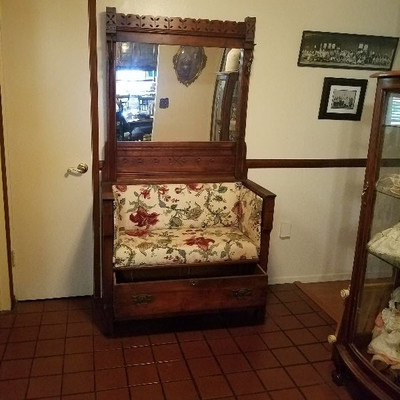 Wood Hall Tree with mirror, bench and drawer $350 or best offer.