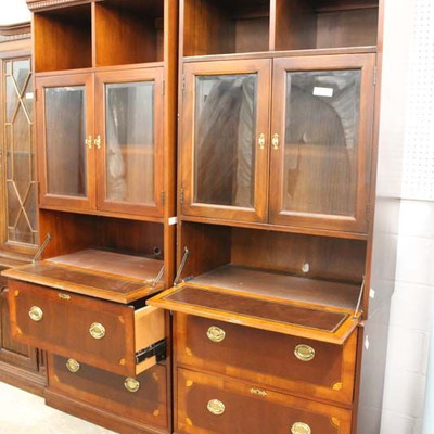 """BEAUTIFUL PAIR of """"Hekman Furniture"""" Burl Mahogany and Banded Office Credenzas  Auction Estimate $200-$400 – Located Inside"""