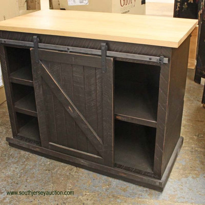 COOL NEW Rustic Barn Style Sliding Door Kitchen Island with Drop Down Side and Natural Finish Top  Auction Estimate $300-$600 – Located...