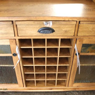 COOL NEW Contemporary Mission Oak Style 3 Drawer Bar with Wine Holder and Stem Glass Holder with Back Bar  Auction Estimate $400-$800 –...