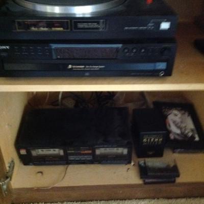 Stereo, turn table, CD's, VHS, DVD's