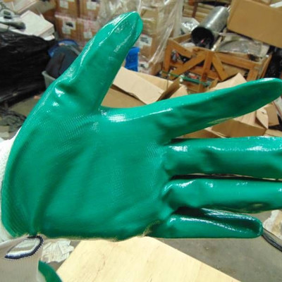 GREEN AND WHITE KINCO GLOVES.