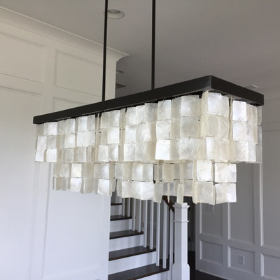 Mother of pearl style glass and metal chandelier $$250 40 X 12
