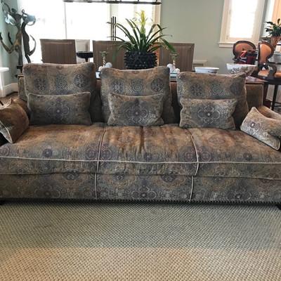 R. Jones custom made sofa with studded leather trim $2,200 94 X 34 X 40