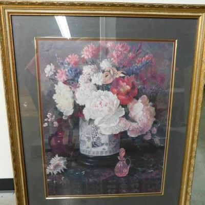 Framed Picture of Peonies