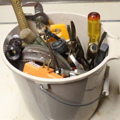 Bucket Full of Misc Tools; Vintage sprinkler, nozz ...