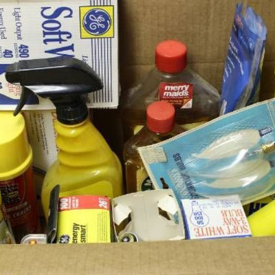 Box of Household Cleaner and Auto Fluids, light bu ...