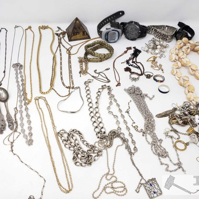 191: 	 Assorted Costume Jewelry and Watches, collectors spoons Several lovely pieces are here in this assortment of gold and silver...