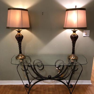 Metal w/Glass Top Sofa Table - $145 (52W 18D 27H)