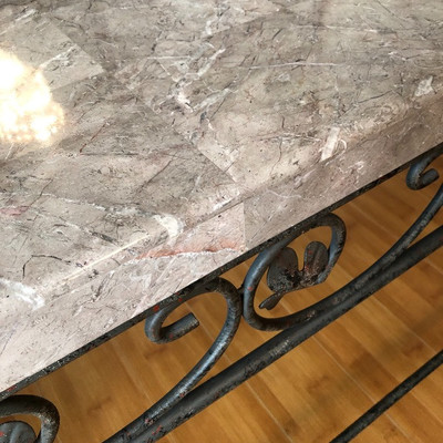 Versatile Metal & Solid Surface Side Server/Sofa Table - $125 (56W 19D 28H)