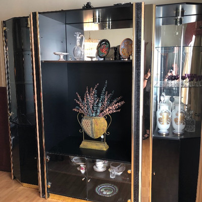 2 Black Lacquer w/Gold Lighted Display Towers w/mirrored back - $125 EACH (25D 80H)