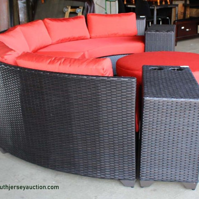 AWESOME NEW All Season All Weather 6 Piece Circular Sofa with Beverage Cup Holders and Round Ottoman with Cushions Auction Estimate...