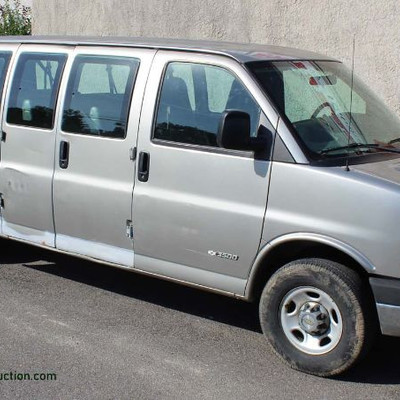 2004 Running Chevy V-8 Express 15 Passenger 3500 Van with A/C, Tilt Steering Wheel, Power Locks, and Odometer Reads 193225 Auction...
