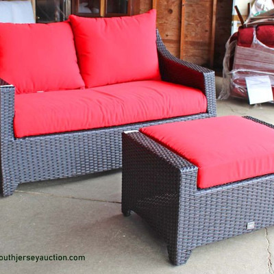 """NEW 2 Piece """"RST"""" All Weather All Season Wicker Loveseat and Stool with Cushions Auction Estimate $200-$400 – Located Inside"""