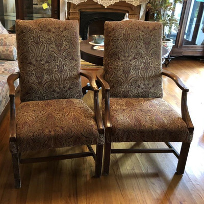 CH022: Pair of 2 Clothe and Wood Occasional Chairs Local Pickup https://www.ebay.com/itm/113804768447