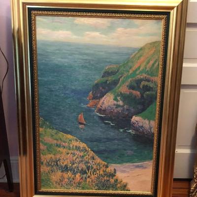 CH071: Henry Moret Goulphar Bay Sea Side w/ Boat Framed giclee oil on canvas Loc https://www.ebay.com/itm/123821495251