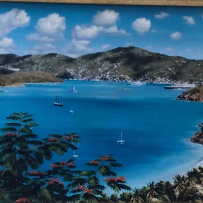 CH077: Pacific Island Bay Side framed giclee oil on canvas Local Pickup https://www.ebay.com/itm/123821478646