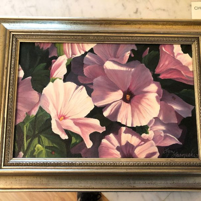 CH092: Lyn Lasneski Flowers Framed oil on canvas Local Pickup https://www.ebay.com/itm/113804172035