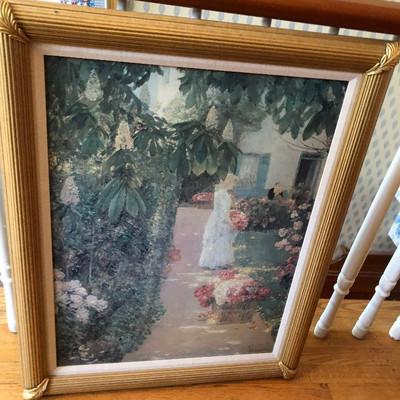 CH074: Gathering Flowers in a French Garden Childe Hassam framed giclee oil on c https://www.ebay.com/itm/123821495252
