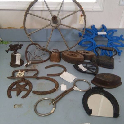 Iron and Metal Horseshoes, Bit, Wheel and Décor