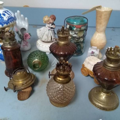 Mini Oil Lamps and Parts, Buttons in Jar and MORE