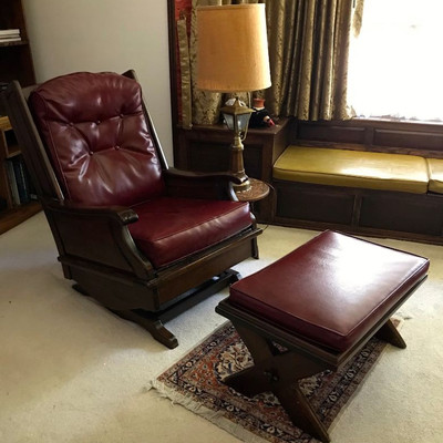 Pair of leather chair and ottoman