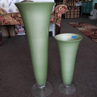 2 Green Glass Vases
