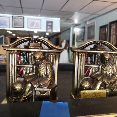Brass Librarian Bookends