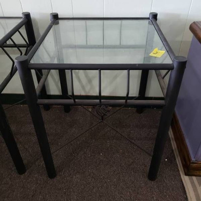 Black Metal with Glass Top Side Table