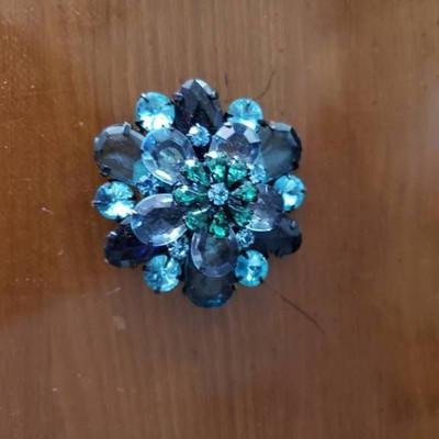 Blue Jeweled Brooch Pin