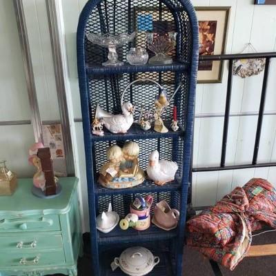 Blue Wicker Shelf- Shelf Only