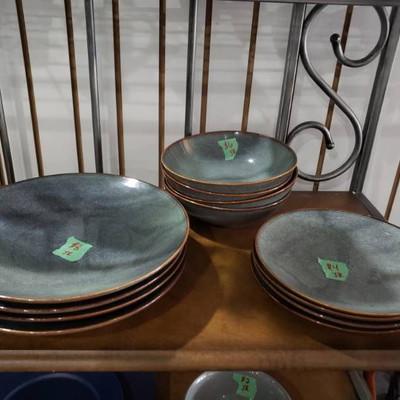 4 Large Blue Grey Plates, 4 Salad Bowls, 4 Appeti ...