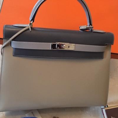 Hermes 2 tone brown and gray platinum series pocketbook