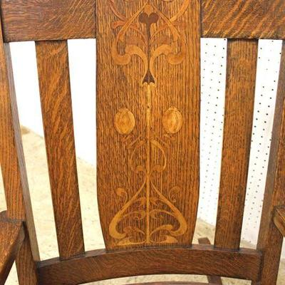 """ANTIQUE """"Stickley Furniture"""" Mission Oak with Arts and Craft Inlay Rocker  Auction Estimate $300-$600 – Located Inside"""