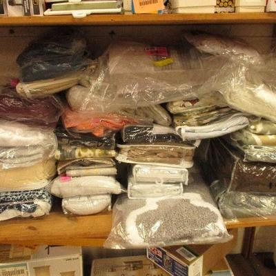 LARGE Lot of New Curtains, Chair Slipcovers, Bath ...