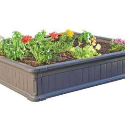 4 ft. x 4 ft. Plastic Raised Garden Bed