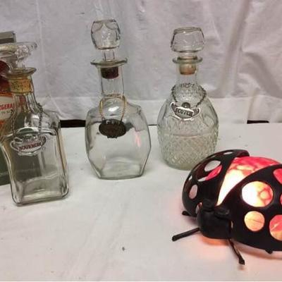Bourbon Decanters & Ladybug Lamp