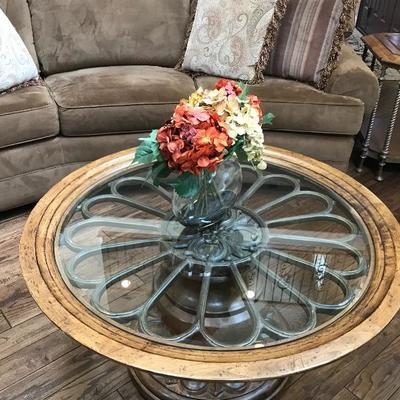 Drexel Heritage Round Glass Top Coffee Table