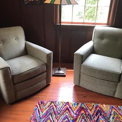 Pair of Broyhill Swivel Club Chairs